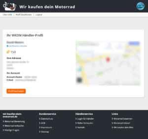 Motorradhändler - Profil Übersicht